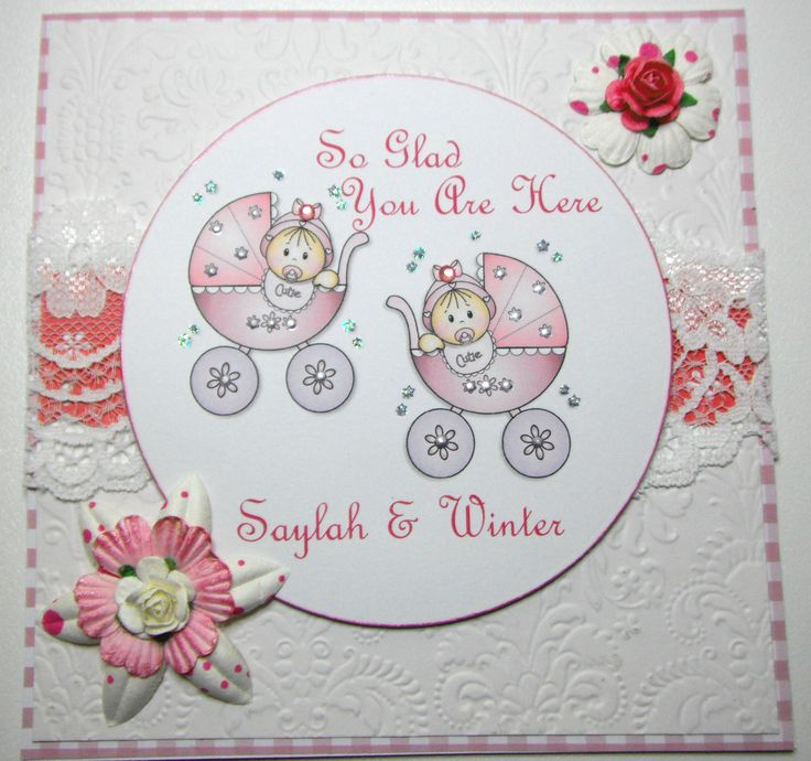 Twin girls card using digital images from Pink Gem Designs, I love their images.