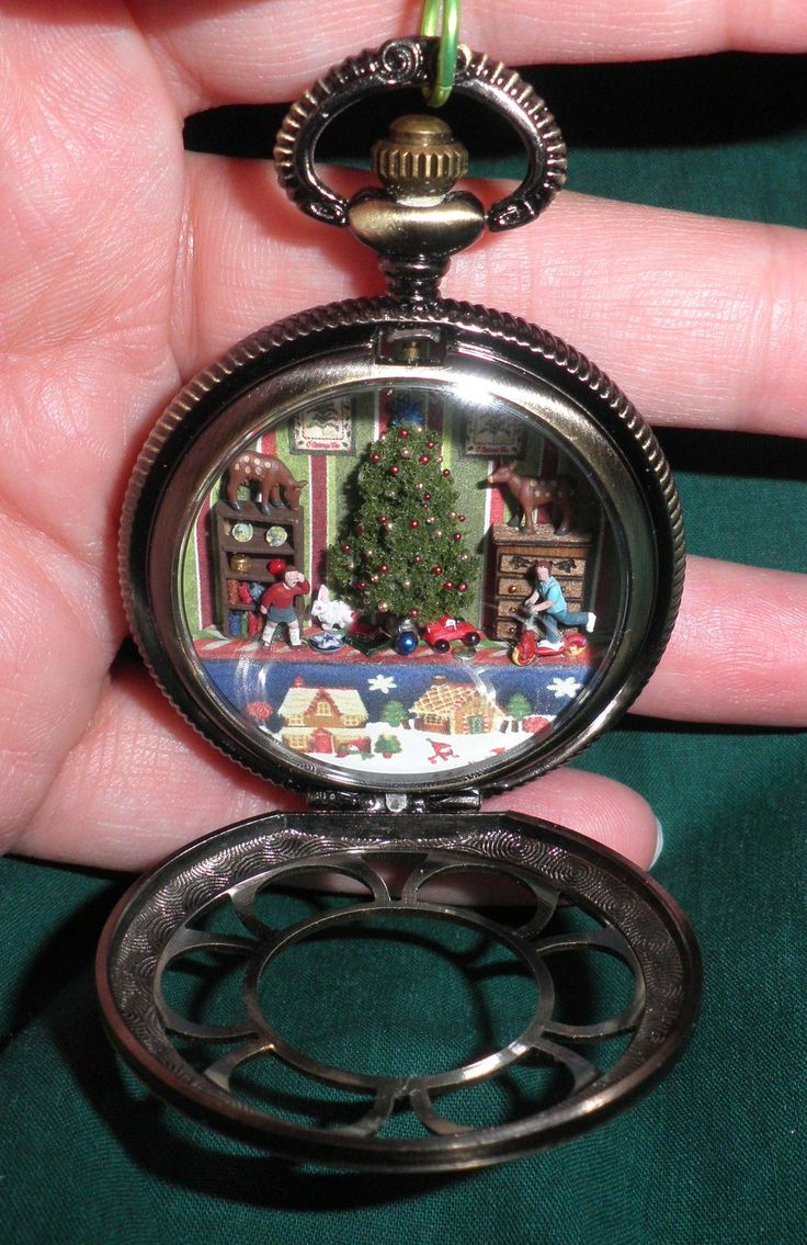 Pocket Watch Locket with Miniature Christmas Scene by Sheila A. Nielson