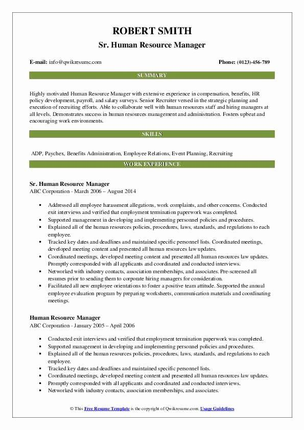 Human Resources Director Resume Samples Best Of 65 By Hr Manager Resume Samples Resume Format Health Teacher Teacher Resume Examples Teacher Resume