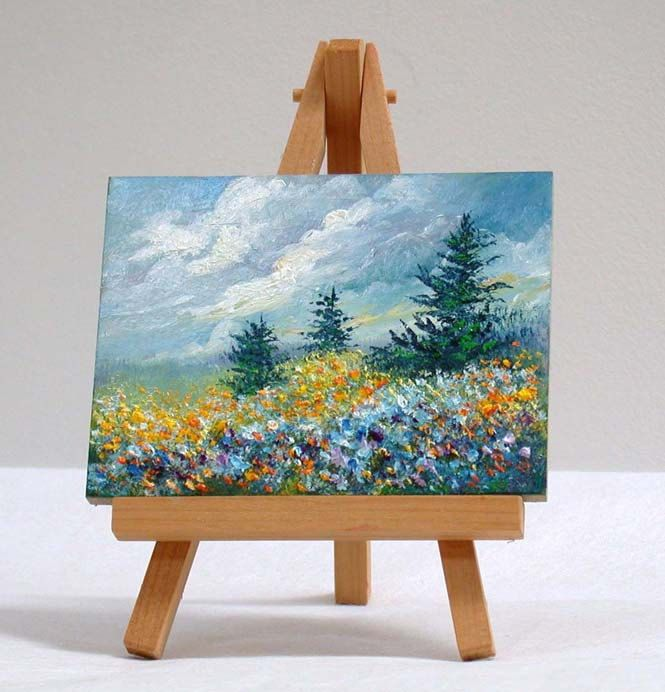 Field of Flowers and Pine trees, 3x4, original, oil painting by valdasfineart on Etsy