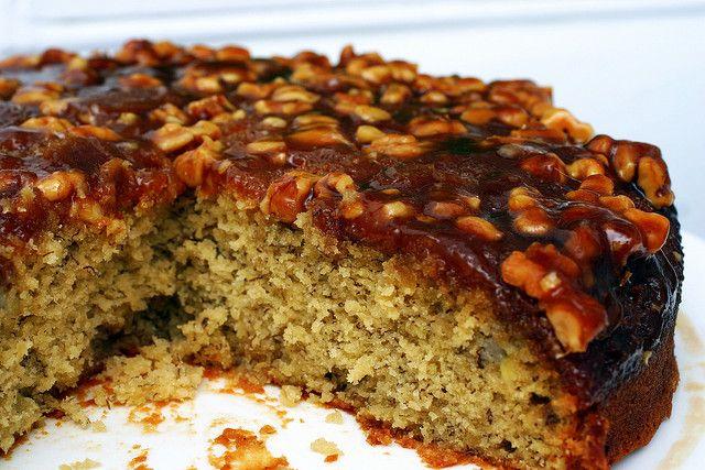 caramel walnut upside down banana cake by Smitten Kitchen
