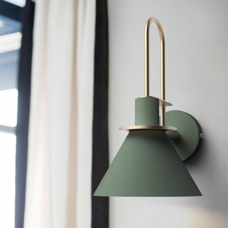 Oklak Green Light Fixture On Wall In 2020 Wall Lights