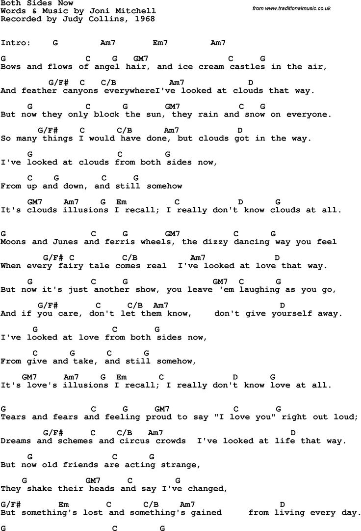 Song Lyrics With Guitar Chords For Both Sides Now Judy Collins