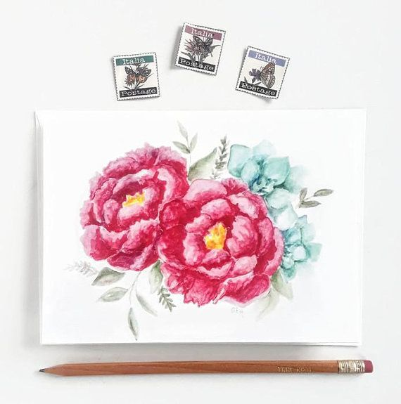 Bright Happy Pink Peonies Painted With Watercolors And Printed On