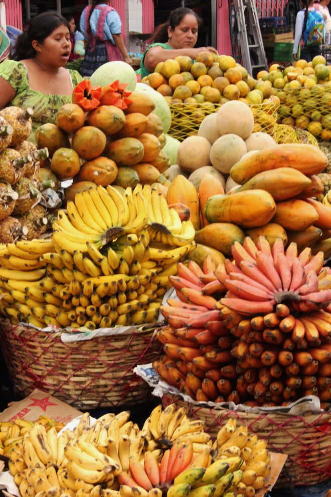 Guatemala, many different kinds of bananas I wish I could visit a fruit market someday.
