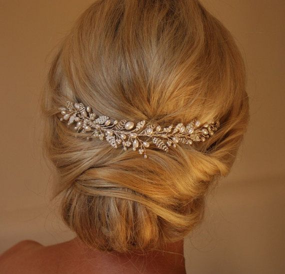 Emily Hair vine- Wedding Hairvine, Bridal hairpiece, Headdress, Veil Topper, Pearl, Crystal, Adornment, Vintage, Rustic, Art Deco,