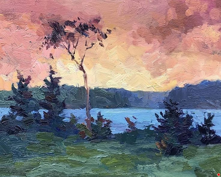 Annapolis Basin Sunset by Poppy Balser Oil ~ 8 x 10