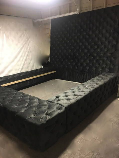 Velvet Diamond Tufted Oversized King Bed In 2019 Accent Wall Home Decor Bedroom Room