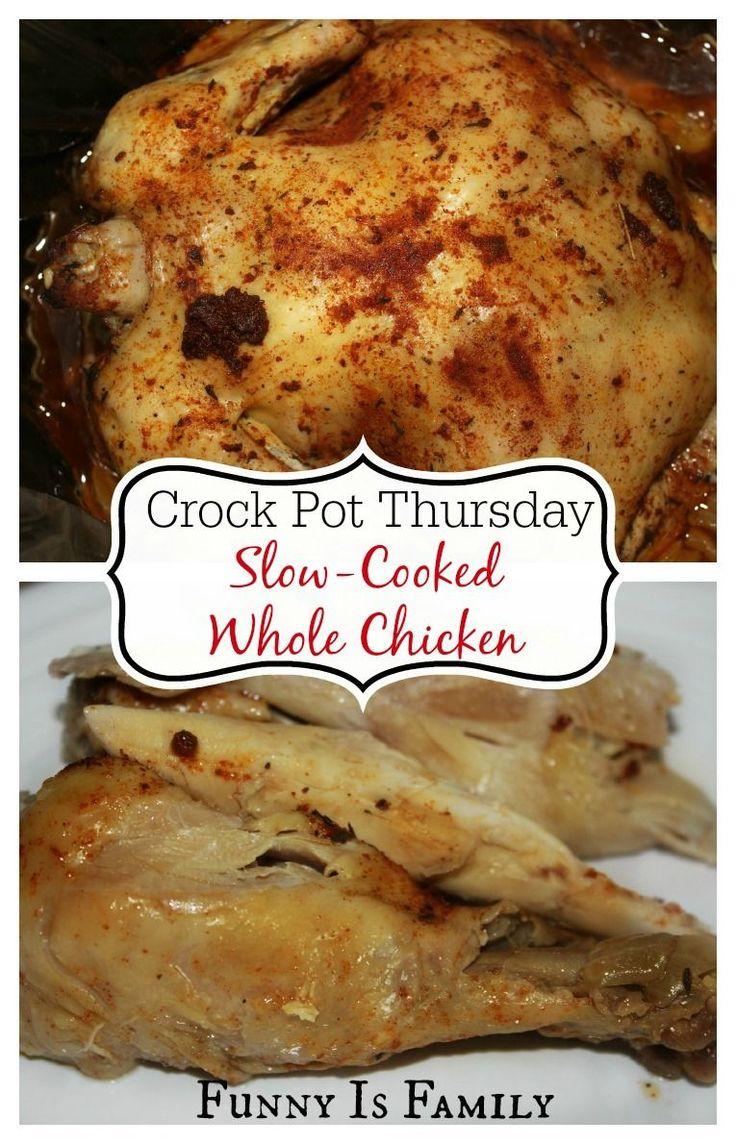 This slow-cooked whole chicken tastes incredible, and so easy! #crockpot #slowcooker #chickenrecipes