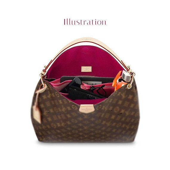 graceful mm deluxe leather handbag organizer  leather bag insert for lv graceful mm  leather
