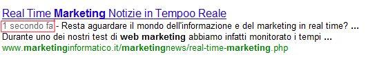 Google e la velocità di indicizzazione e posizionamento real time marketing