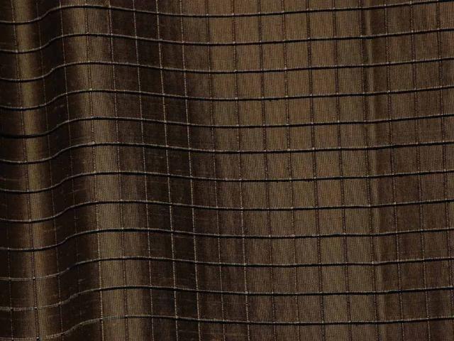 Robert Allen Taupe Black Pane Rib 100% Silk Upholstery Drapery Fabric 1 1/2Y