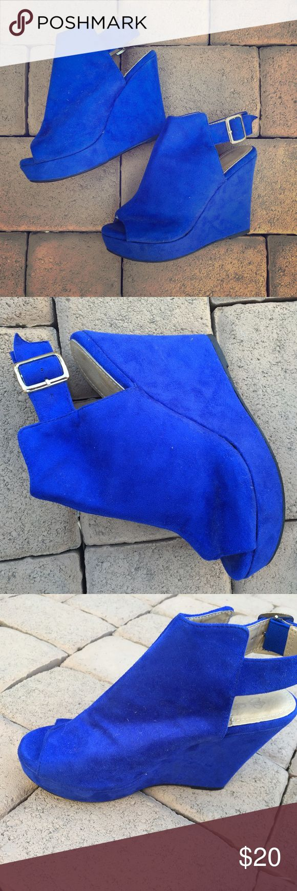 BLOWOUT BLUE WEDGES  Cute peep toe blue suede wedges . Shoes Wedges