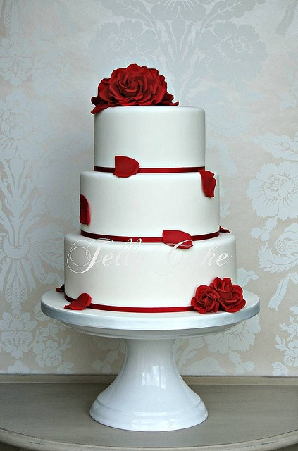 Red Roses Wedding Cake by www.jellycake.co.uk, via Flickr