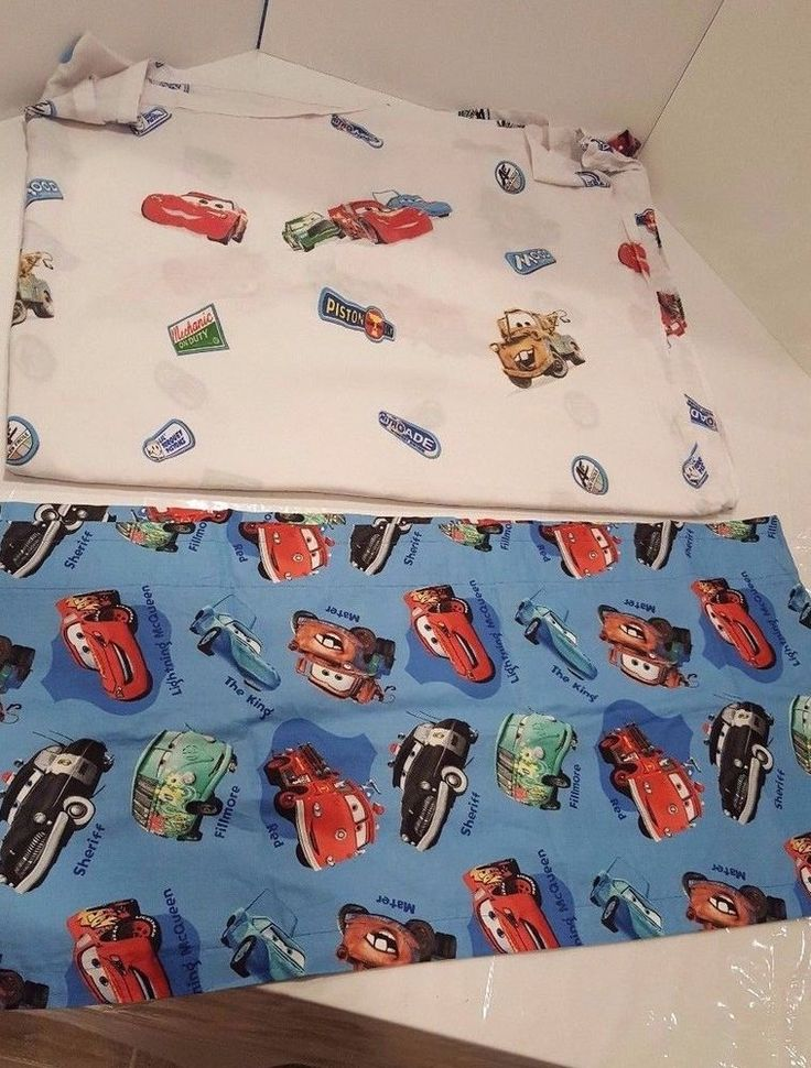 Cars Lighting McQueen Flat Twin Bed Sheet Disney Bedding Boys Room & 1 Drape #Disney