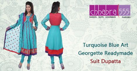 Buy Turquoise Blue Art Georgette Readymade Suit Dupatta in @ $94.95 AUD fom collections of over 4000 unique products - design, colour and fabric scheme of Chhabra555 in Australia.