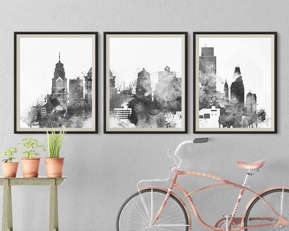 Philadelphia Black White Skyline Triptych Wall Art Of Etsy Triptych Wall Art 3 Piece Wall Art Triptych