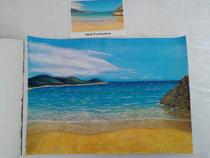Mein Strandbild aus Fuerteventura mit Acrylfarben. Oben liegt das Original, eine Ansichtskarte.