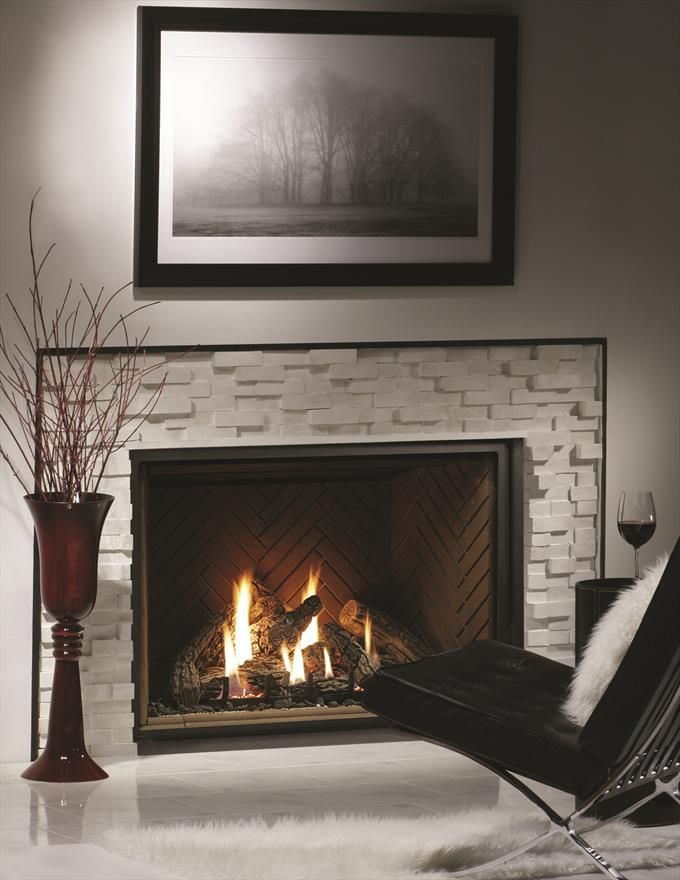 """47"""" Zero Clearance Direct Vent Gas Fireplace With 8-Piece Log Set"""