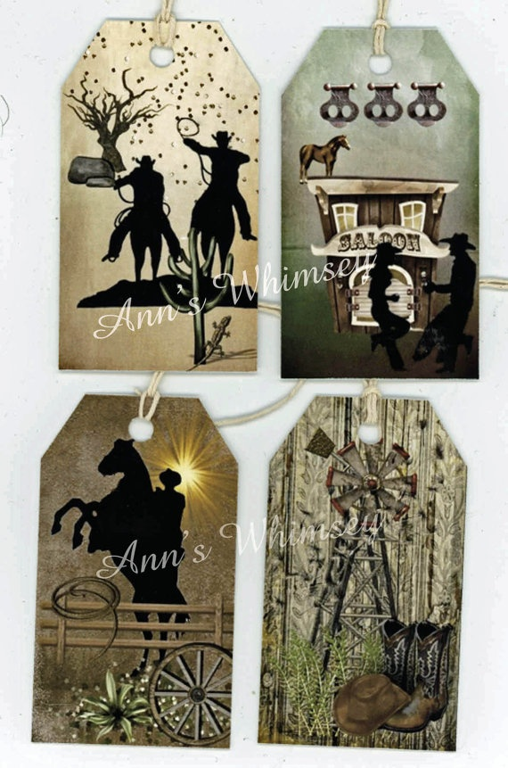 Wild West Cowboy Tags  Scrapbooking Collage Crafts by annswhimsey, $4.00  annswhimsey.etsy.com