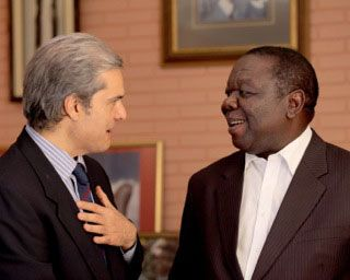 """Moroccan Prince with Morgan Tsvangirai - """"A Whisper to a ROAR"""" featured in lengthy article in important Arabic language web site elaph.com"""