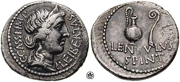 Denarius (42 BC) issued by Cassius Longinus and Lentulus Spinther, depicting the crowned head of Liberty and on the reverse a sacrificial jug and lituus, from the military mint in Smyrna