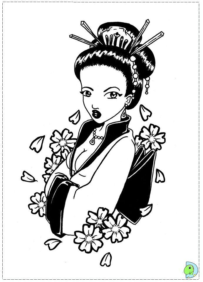 8 best geisha kleurplaten images on Pinterest   Adult coloring ...