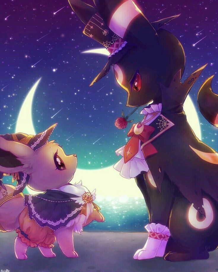 Extremely Cute Eevee and Umbreon