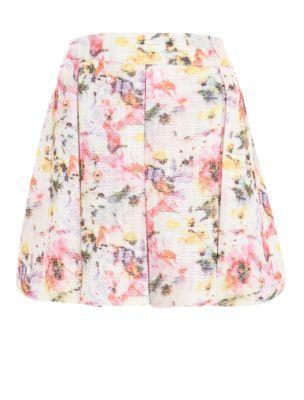 Cream Boucle Floral Print Skater Skirt