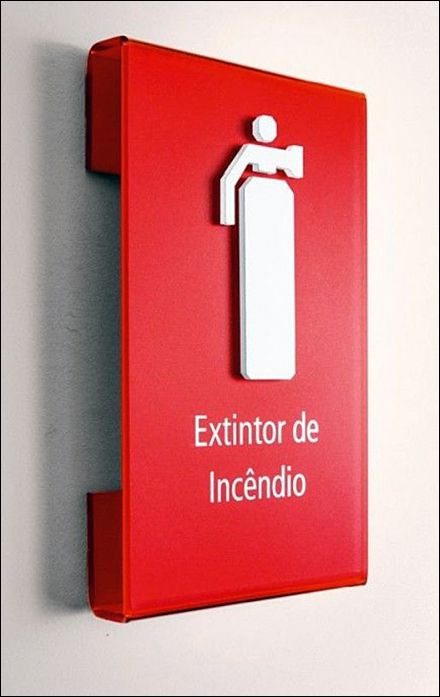 Red Fire Extinguisher Drop-Shadowed Attention Compelling Sign
