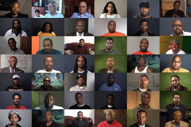 Interviewees from Question Bridge: Black Males by Chris Johnson and Hank Willis Thomas in collaboration with Bayeté Ross Smith and Kamal Sinclair