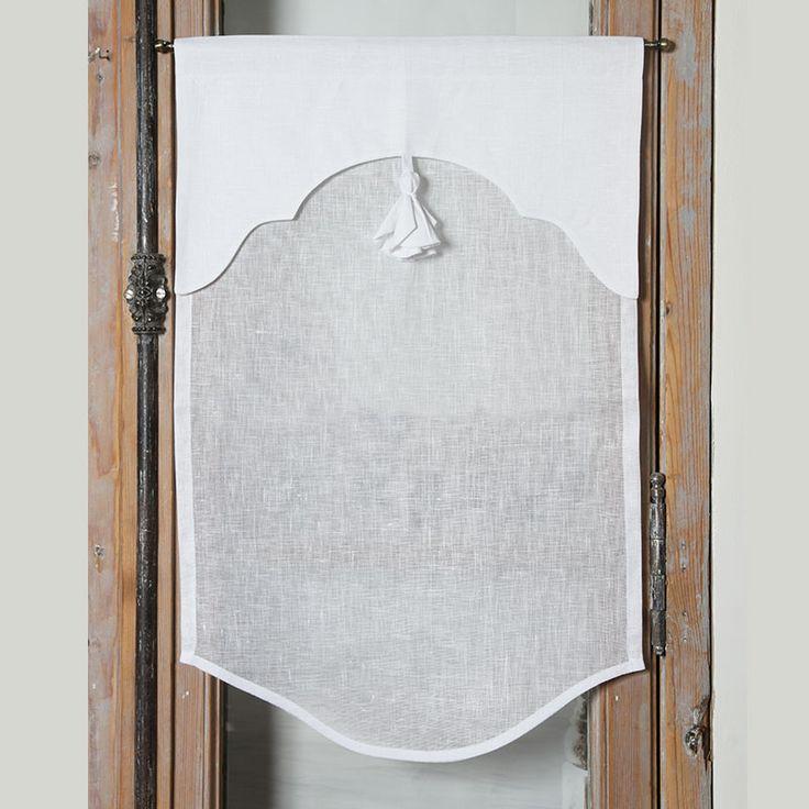 Brise-bise & Cantonnières : Brise bise lin blanc