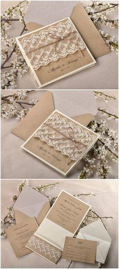 Shabby chic lace and burlap rustic wedding invitation suite; @ElegantWeddingInvites