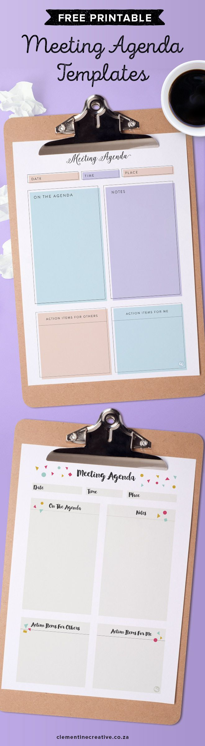 Meetings can be boring. Use a cute printable meeting agenda template that will keep you organised. Use for student conferences, family meetings, business meetings, staff meetings, teacher meetings, etc. Download these two free printable meeting note templates here.