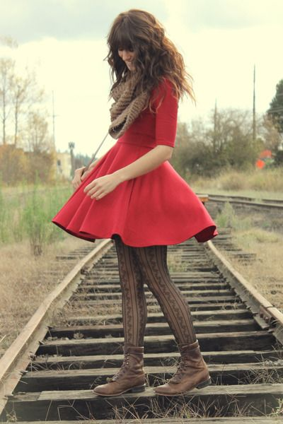 Scarf, dress, patterned tights, boots.