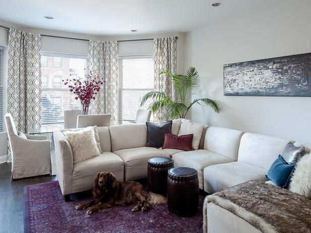 Great leather stools!!  The artwork and pillows could work also!!  Eclectic Living-rooms from Lugbill Designs on HGTV