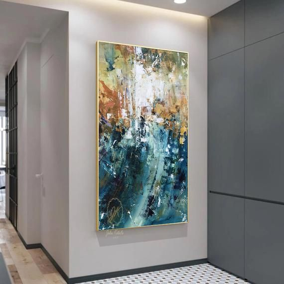 Over The Bed Decor Oversized Canvas Art Teal Blue Wall Decor