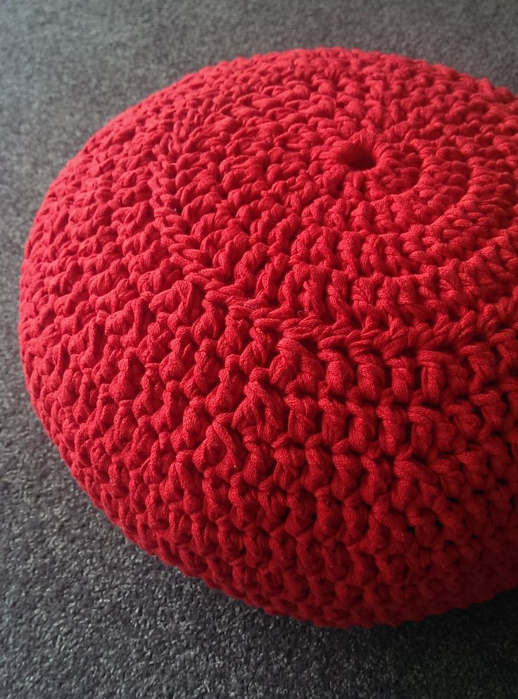 Red hand crochet pouf, using Ribbon XL.  This product is by far the favourite in our house!  I need to make some more to sell.