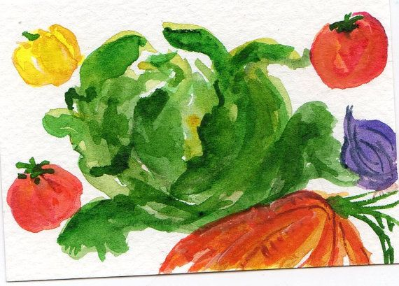 ACEO Original Tossed Salad Leafy green lettuce  by SharonFosterArt, $8.70