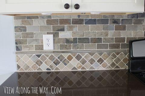 slate tile backsplash at view along the way
