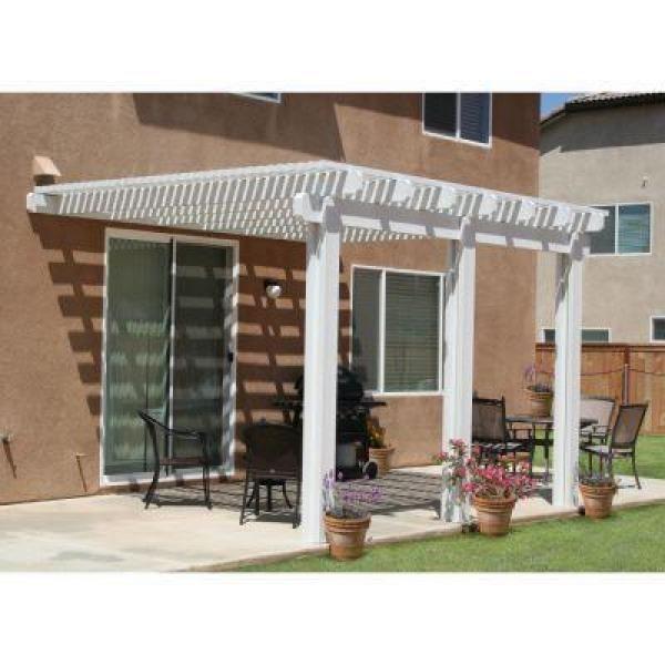 white aluminum attached open lattice patio cover whites - Lattice Patio Ideas