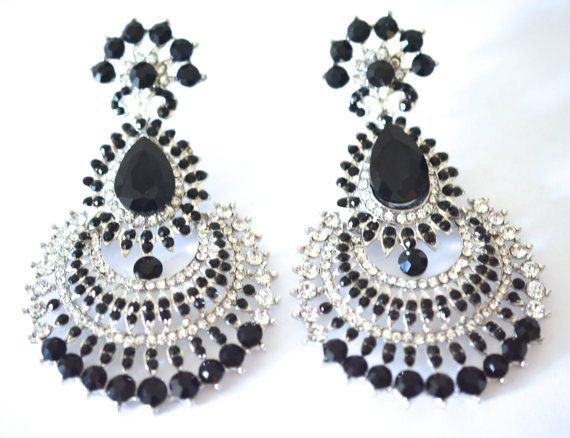 Silver tone chandelier earrings black crystal by BeautifulByBetter