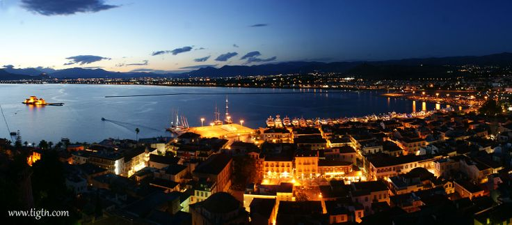 Port of #Nafplio panorama on 1 May with more than 30 yachts lined-up for the 2014 #Mediterranean #Yacht #Show.