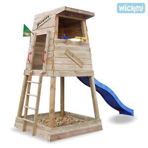Good WICKEY Climbing frame Pirates Nest Sandpit Wave Slide