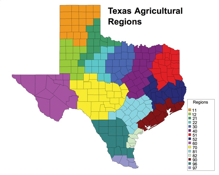 Texas Agriculture Regions. This is a great tool to explore the different types of agriculture that Texas has to offer.