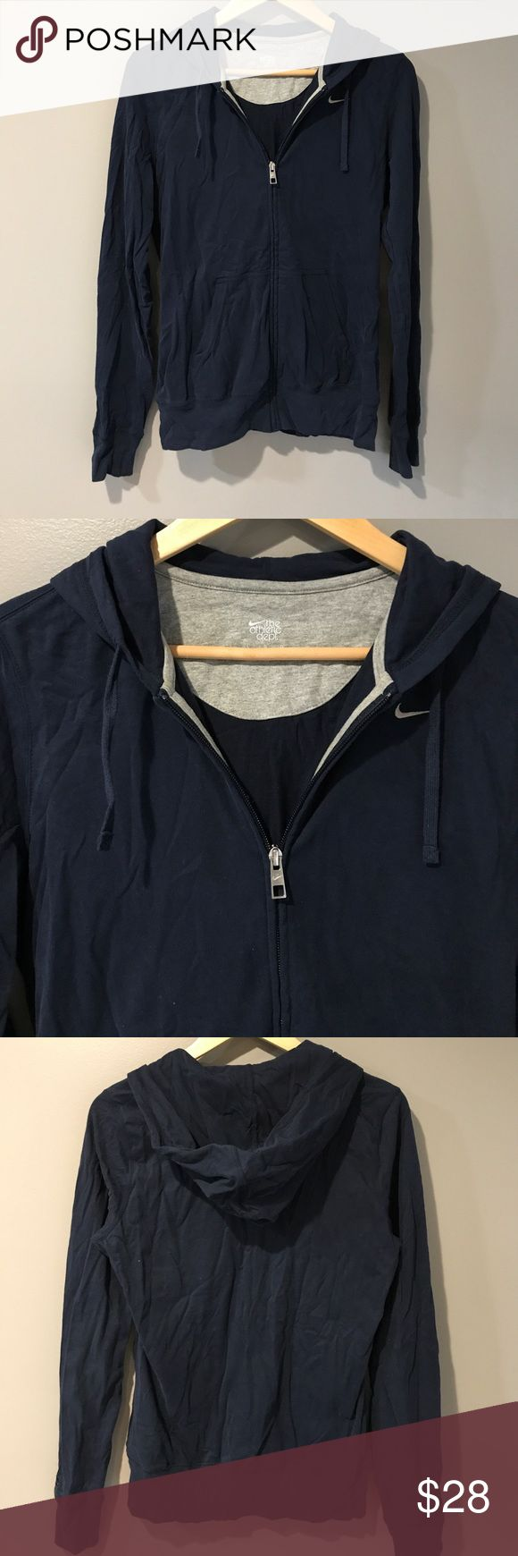 NIKE 100% Cotton Navy Hoodie  L MAKE OFFER!!!  NIKE 💯 Cotton Navy Hoodie Size L Orher than needing a steam, good to very good condition. Navy Nike Tops Sweatshirts & Hoodies