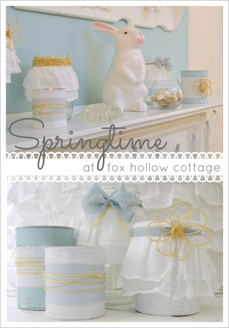 Spring Mantel - Shabby Romantic Aqua and White with Diy Home Decor Elements