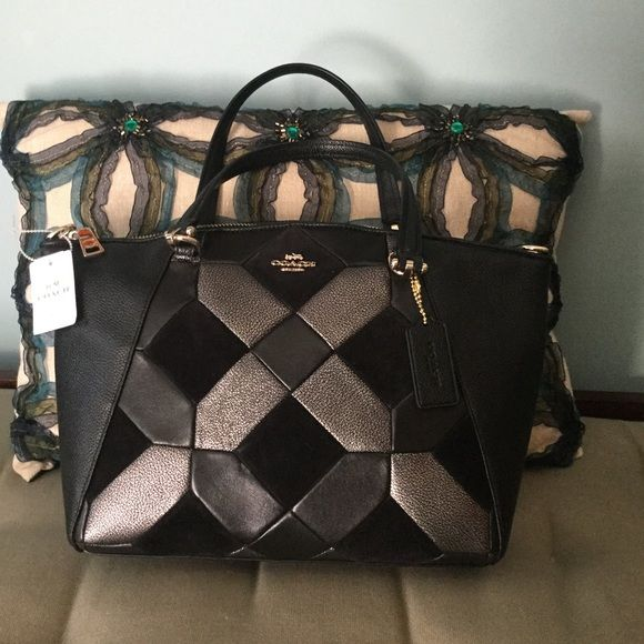"""NEW COACH PURSE Unique, new, never used coach purse, beautiful leather pattern on the front and back. It has a long shoulder strap besides the handles that have about a 7"""" drop. Inside zip pocket and two other interior pockets. Dust cloth included Coach Bags Satchels"""