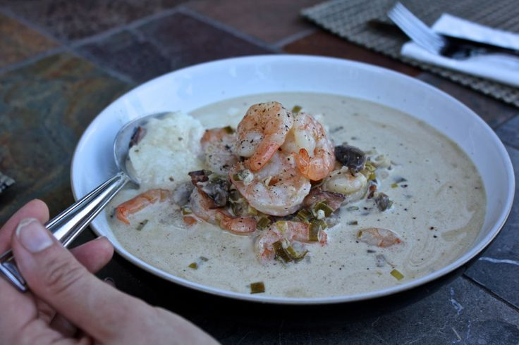 Perfect, creamy, cheesy shrimp and grits with mushrooms, bacon, and ...