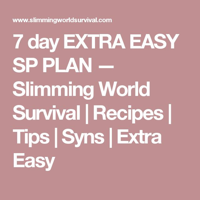 7 day EXTRA EASY SP PLAN — Slimming World Survival | Recipes | Tips | Syns | Extra Easy